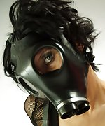 Britany in her favorite gas mask