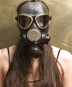 Girl plays with her breathing while in a gas mask