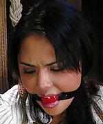 Leilani roped, ball-gagged and fucked with strapon