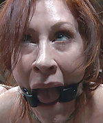 Redhead gets roped and trained outdoors