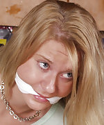 Amy gets tightly roped and cleave-gagged