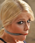 Sandy chair-tied, cleave-gagged, tit-grabbed
