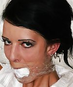 Bound and gagged, struggling inside the fridge