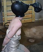 Plastic straps, breath play, tight vinyl tape gag