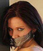 Jasmine pole-tied, tape-gagged and ass-grabbed