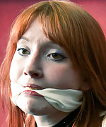 Redhead roped in strappado and cleave-gagged