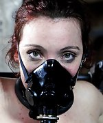 Cuffed and tortured with milking machine and mask