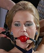 Blonde ball-gagged, pegged and used