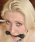 Emma chained, cuffed and bit-gagged