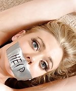 Blondie is bound, tape-gagged, vibed to cum