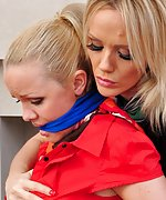 Two blondes tease and tie each other with silk scarves