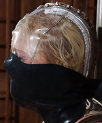 Blonde gets cuffed, hooded, clamped, dildoed and used